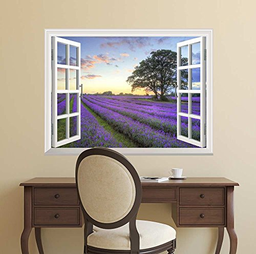 """wall26 Removable Wall Sticker/Wall Mural - Sunrise on a Purple Filed 