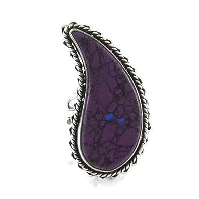 c3dbff4fd5552c Violet Turquoise pierre précieuse Plaqué argent Fait à la main Bague Motif  Us-9