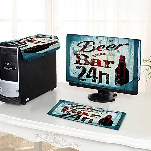 Auraisehome One Machine LCD Monitor Keyboard Cover Beer Bar 24h Figure Old Pub Sign Emblem Restaurant Graphic Design Maroon Dark dust Cover 3 Pieces /29