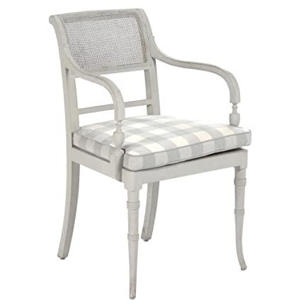 Kathy Kuo Home Pissarro French Country Antique White Caned Arm Chair - Amazon.com - Kathy Kuo Home Pissarro French Country Antique White