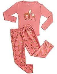 Girls 2 Piece Pajama Set 100% Cotton Top & Fleece Pants (Size 2 Toddler-14 Years)