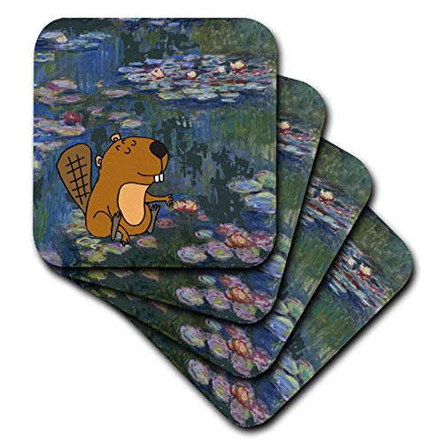 - 3dRose All Smiles Art - Funny - Funny Cute Beaver in Monet Water lilies Art - set of 8 Ceramic Tile Coasters (cst_317013_4)