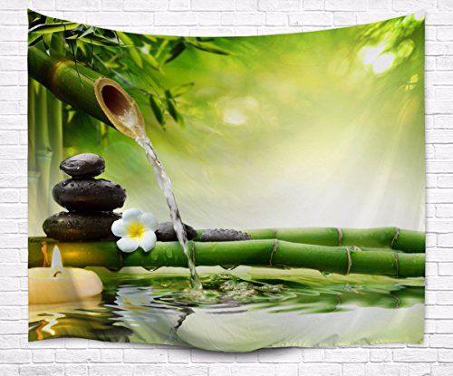 - A.Monamour Zen Meditation Idea Green Bamboo Water Natural Scenery Print Eco-Friendly Cloth Wall Hanging Tapestry Yoga Blankets 153x102cm/60
