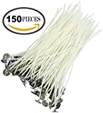 "Candle Wicks for Candle Making DIY with Tabs, 150 Pieces 6"" Inches Low Smoke Pre-Waxed & 100% Natural Cotton Core"