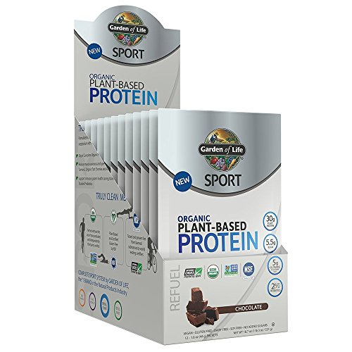 Garden Of Life Sport Organic Plant-Based Protein - BCAA Amino Acid Protein Powder, Chocolate, 12 Count