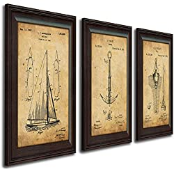 Nautical Sailing Vintage Patents - Sailboat, Anchor, Buoy (3pc Set)