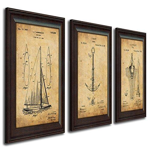 Personal Prints Nautical Sailing Vintage Patents - Sailboat, Anchor, Buoy (3pc Set) Boats & Buoys Glass Print