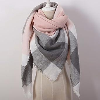 c0a89c453 Châle d'Hiver/pashmina pour Femme Triangle Rose/Gris Sert également ...