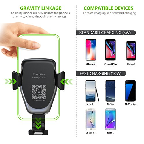 Wireless Car Charger Phone Mount, 2 in 1 Car Air Vent & Dashboard Universal Phone Holder Fast Charger Compatible with iPhone X iPhone 8/8 Plus,Samsung Galaxy and QI-Enabled Smartphone by Heiyo (Image #1)