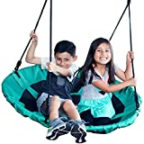 Jump Frog USA GIANT 40'' ORIGINAL SAUCER TREE SWING by, Holds 400 lbs, Quality Weather Resistant Fabric, Easy to Assemble with Step by Step Directions, Year Round Outdoor Fun, Pick Your Color (Green)