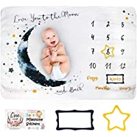 Innoo Tech Baby Monthly Milestone Blanket Boy - Baby Photo Blanket for Newborn Baby Shower, Monthly Blanket for Baby…