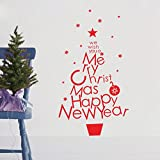 DIY We Wish You a Merry Christmas and Happy New Year. The Christmas Tree Shape Home Stickers Removable Decal Home Art Decoration Mural Wall Decal Home Decor Bedroom Window Sitting Room Sofa Background Vinyl DIY Art Decals
