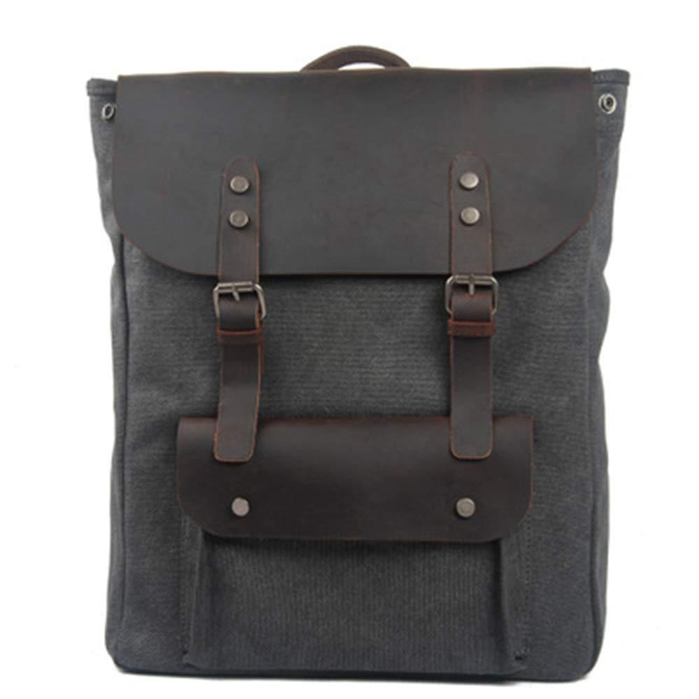 FRWE Sac de voyage en toile imperméable avec sac à dos en cuir sac à dos sac de voyage sauvage pour les loisirs en Europe et en Amérique (Couleur   6, Taille   L)