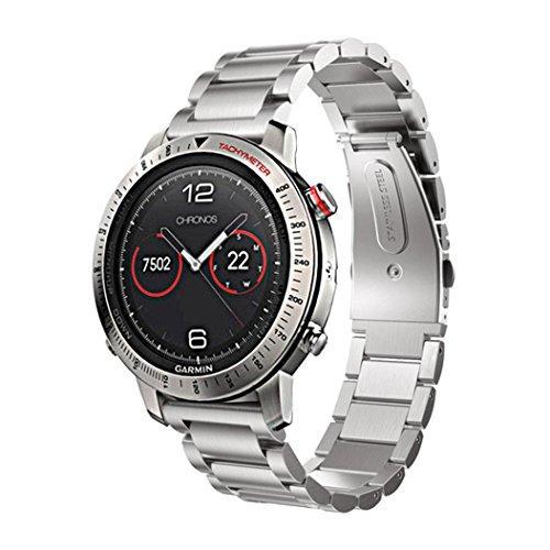 For Garmin Fenix Chronos,Sunfei Stainless Steel Bracelet Smart Watch Band Strap (Silver) ()