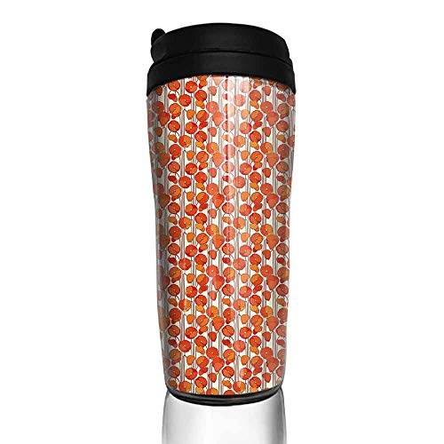 coffee cups for mom and dad Floral,Art Nouveau Style Poppy Flowers Retro Spring Summer Garden Foliage Petals,Vermilion Brown Cream 12 oz,neoprene cup sleeve for iced coffee