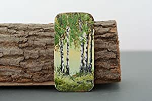 "Wooden Fridge Magnet ""In The Birch Grove"""