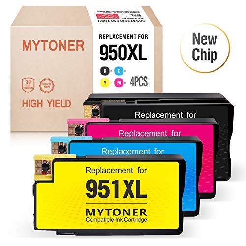 (Mytoner Compatible Ink Cartridge Replacement for HP 950XL 951XL 950 XL 951 XL Ink for Officejet Pro 8100 8600 8610 8615 8620 8625 8630 8640 251dw High Yield (Black Cyan MagentaYellow, 4-Pack))
