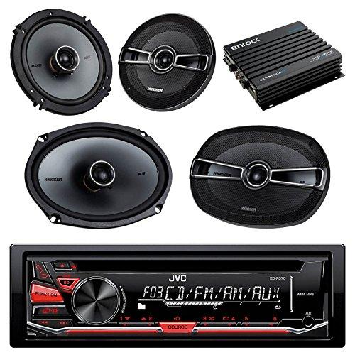 JVC KD-R370 CD/MP3 AM/FM Radio Player Car Receiver Bundle Combo With 2 Kicker 6.5