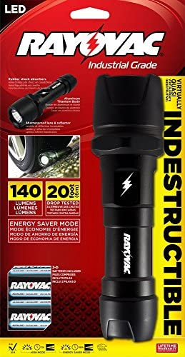 Rayovac DIY2D-B Virtually Indestructible 140 Lumen 2D LED Flashlight with Batteries