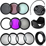 Professional 52MM Lens Filter Bundle Kit, 7 Compact Nikon Accessories