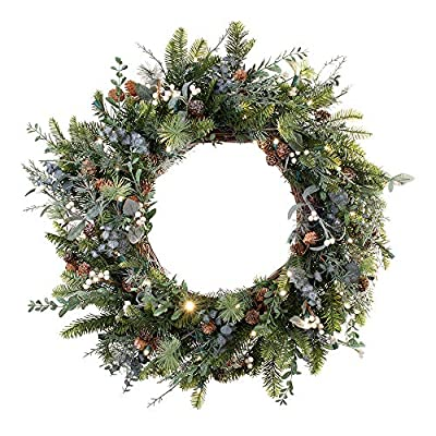 VILLAGE LIGHTING COMPANY 30 in. Artificial Pre Lit LED Decorated Wreath - Rustic White Berry Christmas Wreath - 50 Super Mini LED Warm Clear Colored Lights Timer Battery Pack Indoor Outdoor use