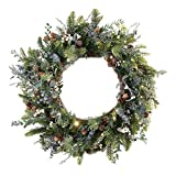 30 in. Artificial Pre Lit LED Decorated Wreath - Rustic White Berry Christmas Wreath - 50 super mini LED warm clear colored lights with timer and battery pack for indoor and outdoor use