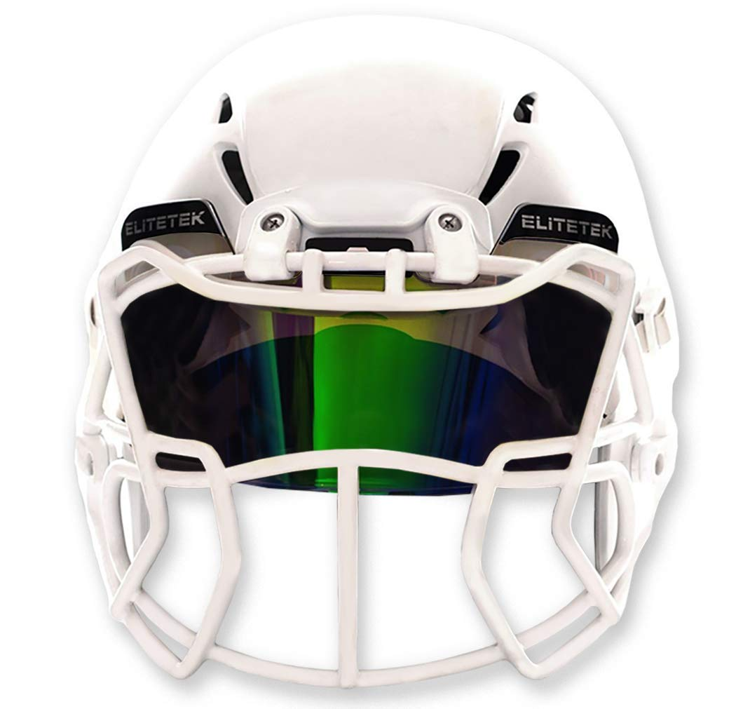 EliteTek Color Football & Lacrosse Eye-Shield Facemask Visor - Fits Youth & Adult Helmets (Dark Green Smoked) by EliteTek