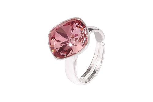 Crystals    Stones Rivoli - Anillo doble de cristal ajustable  (plata de ley aefaa0d2ef7