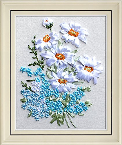 Ribbon embroidery Kit,Fanryn 3D Silk ribbon embroidery White Flowers pattern design Cross Stitch Kit Embroidery for beginner DIY Handwork Home Decoration Wall Decor 45x35cm (No frame) ()