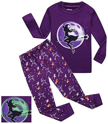 Girls Halloween Pajamas Witch Glow in The Dark