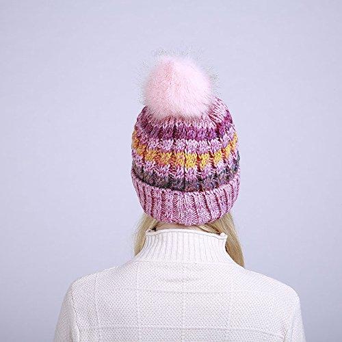 Chapeau Bonnet Rose Acvip Epais Avec Femme Fourrure Rayure Pompon Motif Fausse FpcwcaPq