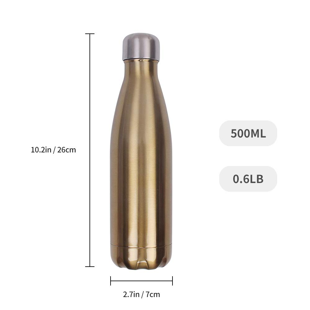 aomigell 17 oz 500ml Double Walled Vacuum Insulated Travel Water Bottle Keep Hot and Cold Stainless Steel Leak Proof Cola Shape Sports Water Bottle