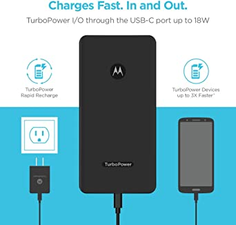 Motorola Essentials USB-C TurboPower paquete de carga - TurboPower Pack 10000 cargador portátil + TurboPower 18 coche + cargador de pared + cables USB-C para Moto G7, X4, Motorola One (caja al