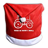 G7M42B&78 Xmas Chair Back Cover, This is How I Roll Farming Farmer Tractor Santa Clause Hat Slipcovers Christmas Party Dinner