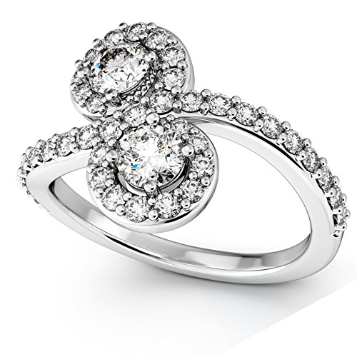 Women's Diamond Halo Accented Curved Two Stone Ring Platinum (1.27ct)