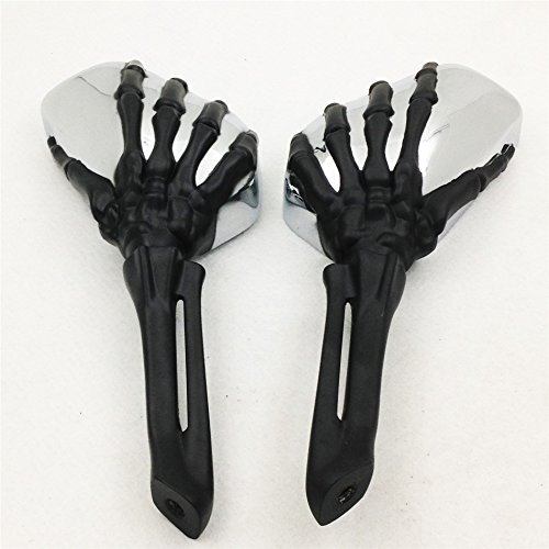 NBX Espejo de calavera para Harley Heritage Springer Sportster Dyna Glide Softail V color negro
