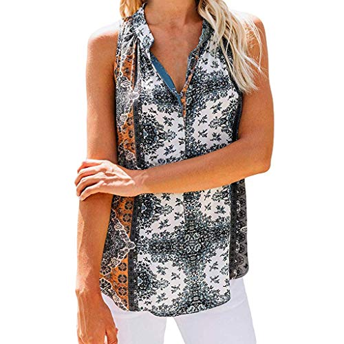 TUSANG Womens Tees Down V Neck Loose Sleeveless Floral Printed Tank Tops Casual Shirts Slim Fit Comfy Tunic(Gray,US-4/CN-S)