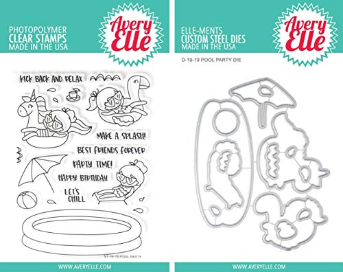 Avery Elle - Pool Party Clear Stamps and Dies Set - 2 Item Bundle -
