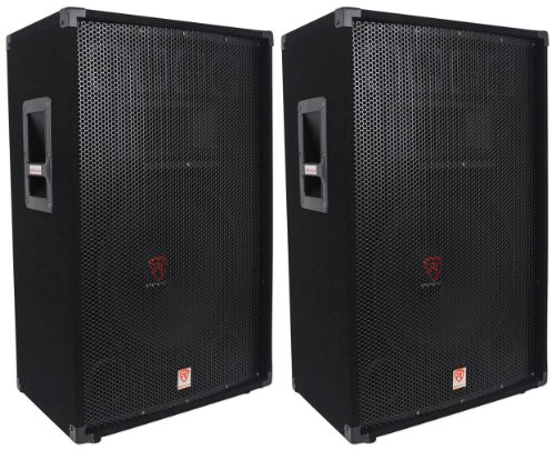 (2) Rockville RSG15 15 3-Way 1500 Watt 8-Ohm Passive DJ/Pro Audio PA Speaker ()