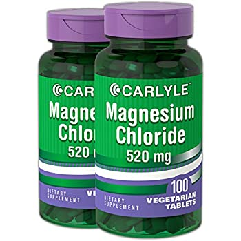 Carlyle Magnesium Chloride 520 mg 200 Tablets – High Absorption – Vegetarian, Non-GMO and Gluten Free Supplement