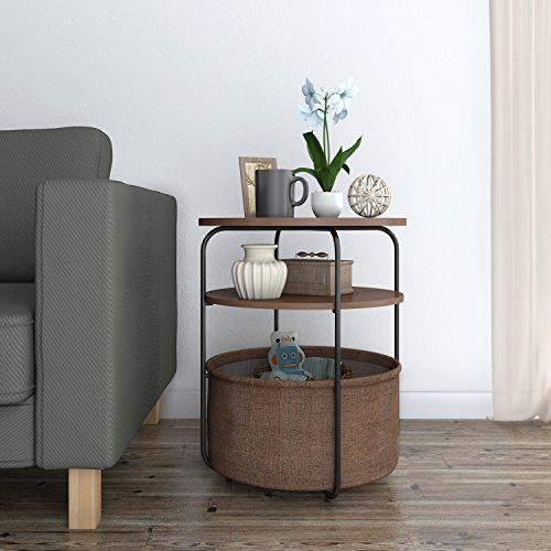 Lifewit 3-tier Round Side End Table with Storage Basket, Nightstand, Espresso, 16.5 x 16.5 x 20 inches - Sofa Table Baskets