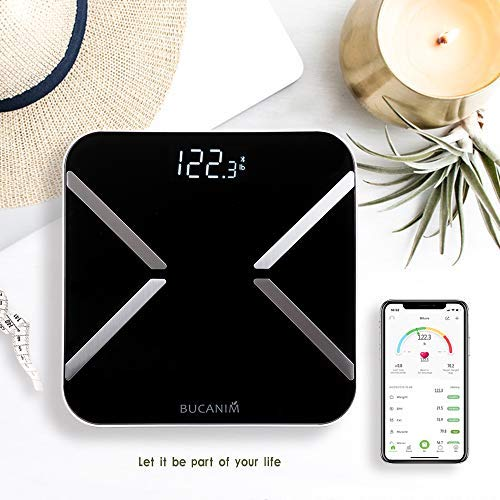 Bucanim Digital Smart Scale Body Fat Analyzer Bluetooth Scale Step-on Digital Weight Bathroom Scale