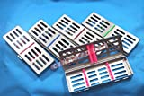 NEW 5 GERMAN STAINLESS DENTAL AUTOCLAVE STERILIZATION CASSETTE RACK BOX TRAY FOR 5 INSTRUMENT ( SE OF 5 EACH COLORED )