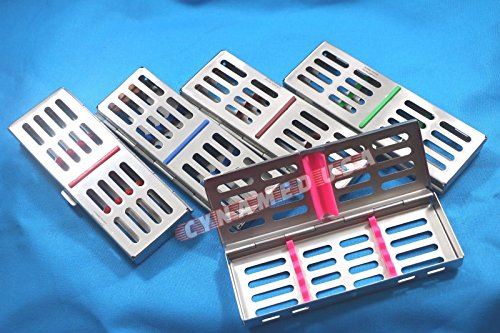 NEW 5 GERMAN STAINLESS DENTAL AUTOCLAVE STERILIZATION CASSETTE RACK BOX TRAY FOR 5 INSTRUMENT ( SE OF 5 EACH COLORED ) by Synamed