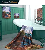 Lake House Luxury Line 3 Piece Towel Set, Vintage Hand Drawn Artisan Picture of Fishing Vill Design Pattern Bathroom Set, Camping Towel, Gym Towel, Pool Towels, on Beach Cart & Beach Chairs