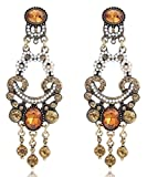 Gold Tone Brown Amber Topaz Citrine Rhinestone w/ Seed Pearls Edwardian Victorian Antique Vintage Style Earrings