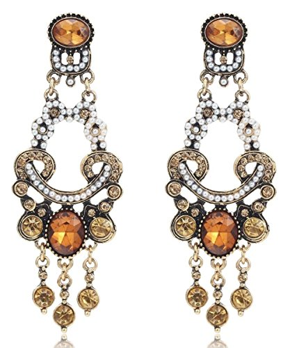 Gold Tone Brown Amber Topaz Citrine Rhinestone w/Seed Pearls Edwardian Victorian Antique Vintage Style Earrings
