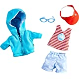 """HABA On The Beach 5 Piece Outfit with Hooded Sweatshirt, Shorts, Tee, Sunglasses & Hat - Fits 12"""" Soft Dolls"""
