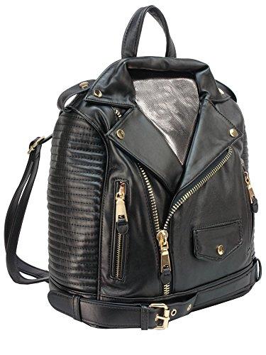 Motorcycle Black Faux Leather Jacket Design Fashion Backpack