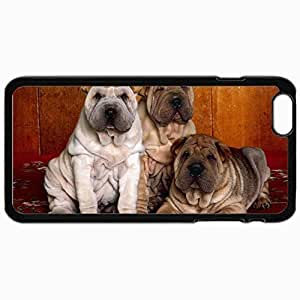 Customized Cellphone Case Back Cover For iPhone 6 Plus, Protective Hardshell Case Personalized Dogs Three Sharpei 25341 Black